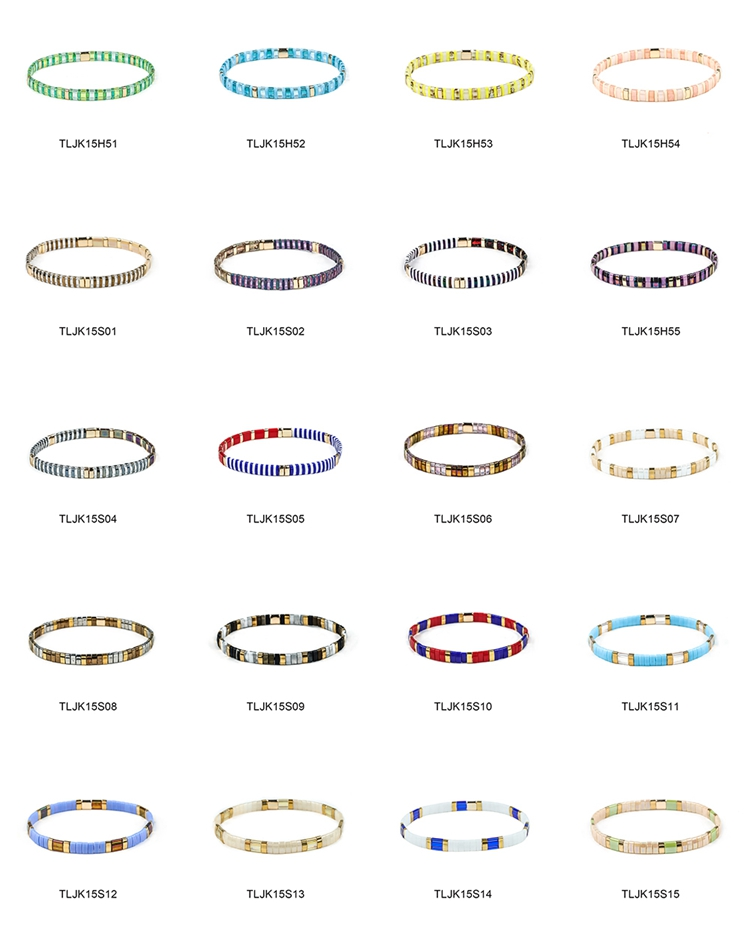 Beautiful elastic style tila beads handmade bracelet wolesale women jewelry