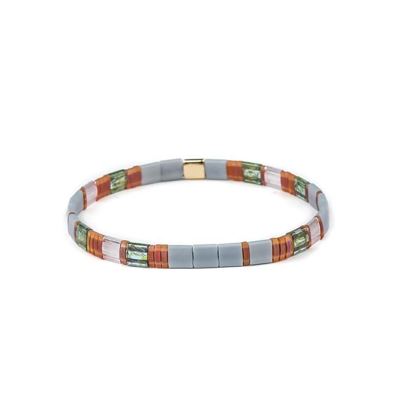Customized logo Elastic Style Tila Beads Bracelet Wholesale Handmade Women Jewelry