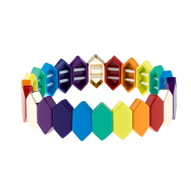 Rainbow Colorful Honeycomb Shaped Alloy Enamel Bracelet Wholesale Women Jewelry