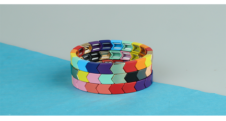 Colorful Arrow-Shaped Rainbow Alloy Tile Enamel Bracelet Wholesale Women Jewelry