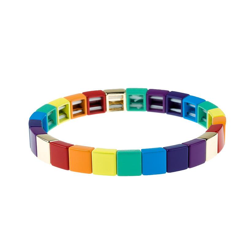 Stackable Square Shaped Rainbow Colorful Tile Enamel Bracelet Wholesale Jewelry