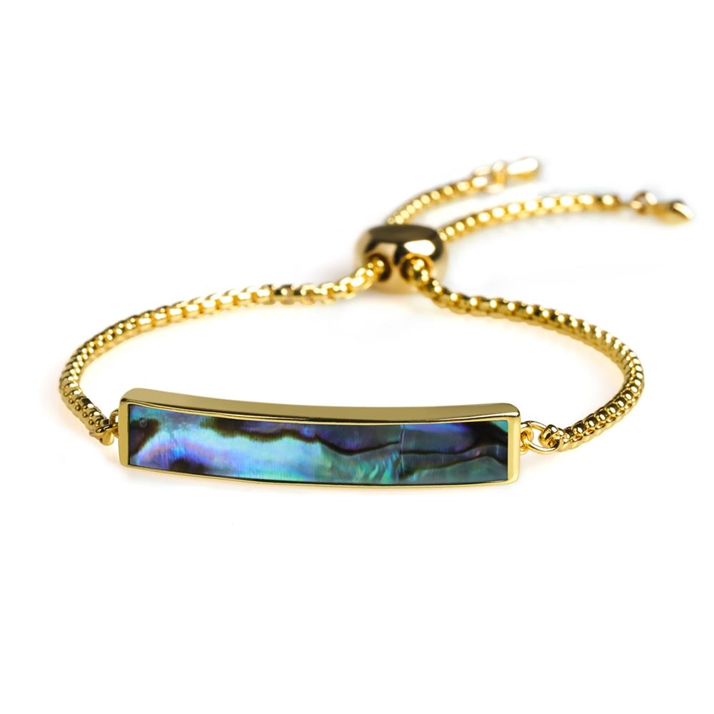Stylish Natural Abalone Shell Gold Plating Slider Women Bracelet Chain Wholesale Jewelry