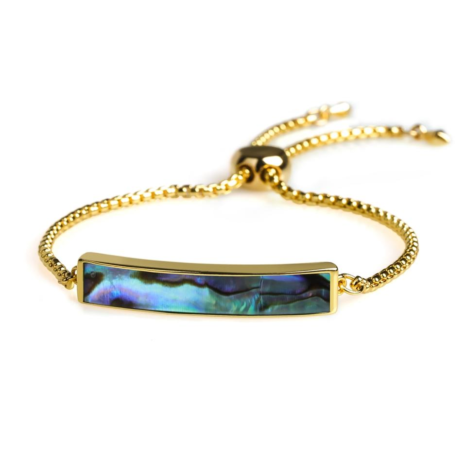 Stylish Natural Abalone Shell Gold Plating Slider Women Bracelet Chain Wholesale Jewelry