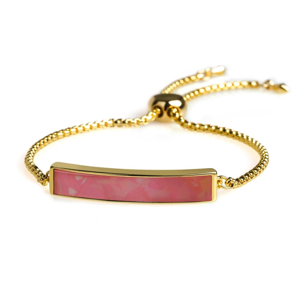 High Quality Copper Gold Plating Natural Shell Red Color Slider Bracelet Chain Women Jewelry