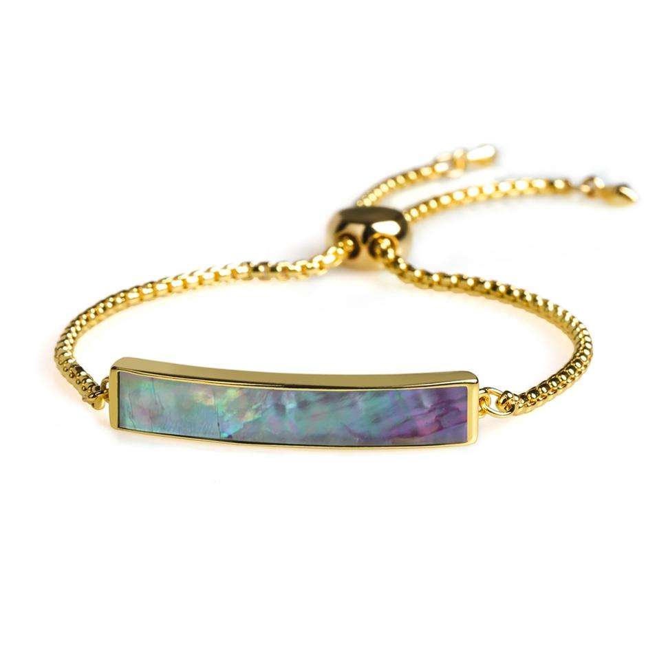 Dazzle Natural Shell Copper Gold Plating Wholesale Jewelry Slider Bracelet Hand Chain