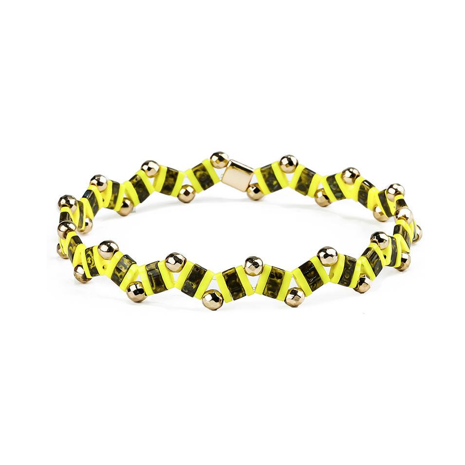 Handmade Bracelet Wave Shaped Hematite Tila Beads Bracelet Wholesale Jewelry