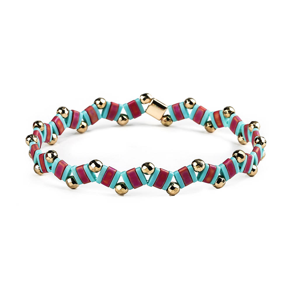 Handmade Bracelet Wave Shaped Hematite Tila Beads Bracelet Wholesale Jewelry