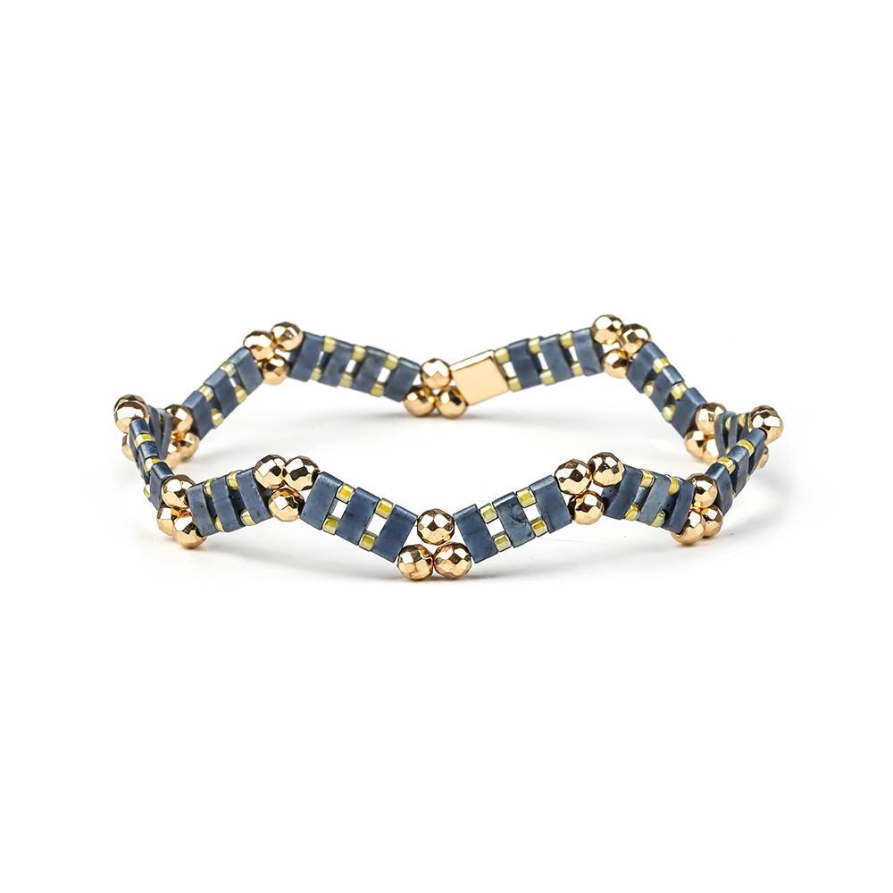 Fashion Customized Hematite Beads Wave Shaped Handmade Tila Bracelet Women Jewelry