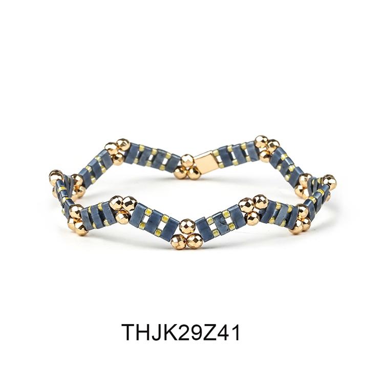 Fashion Customized Hematite Beads Wave Shaped Handmade Tila Bracelet Women Jewelry 2