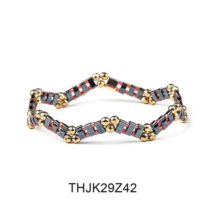 Fashion Customized Hematite Beads Wave Shaped Handmade Tila Bracelet Women Jewelry 3