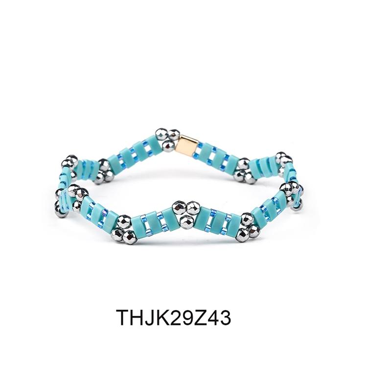 Fashion Customized Hematite Beads Wave Shaped Handmade Tila Bracelet Women Jewelry 4