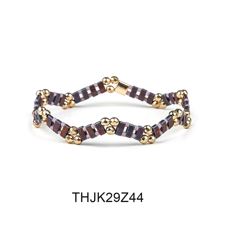 Fashion Customized Hematite Beads Wave Shaped Handmade Tila Bracelet Women Jewelry 5