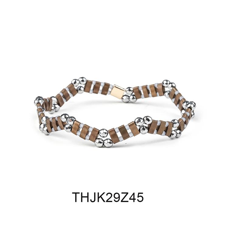Fashion Customized Hematite Beads Wave Shaped Handmade Tila Bracelet Women Jewelry 6