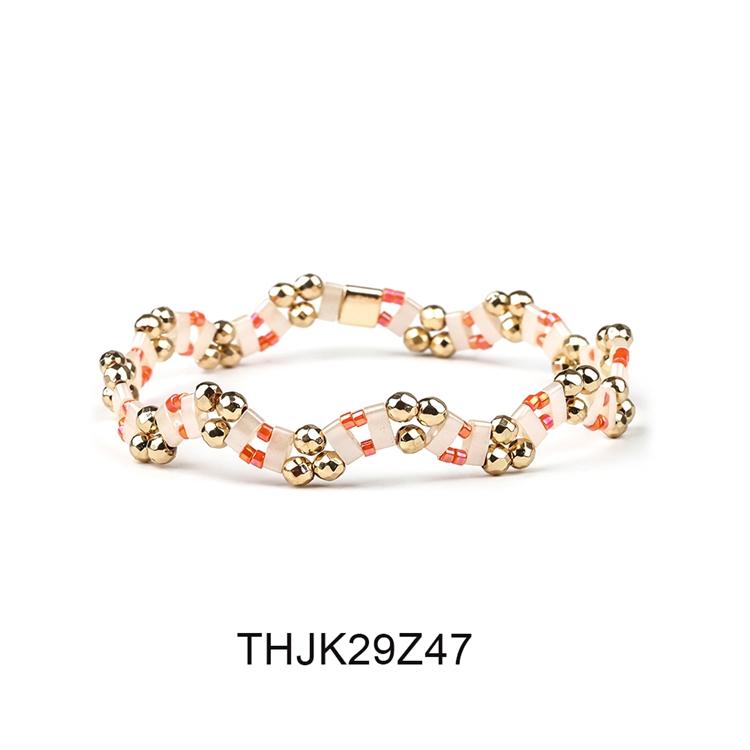 Fashion Customized Hematite Beads Wave Shaped Handmade Tila Bracelet Women Jewelry 8