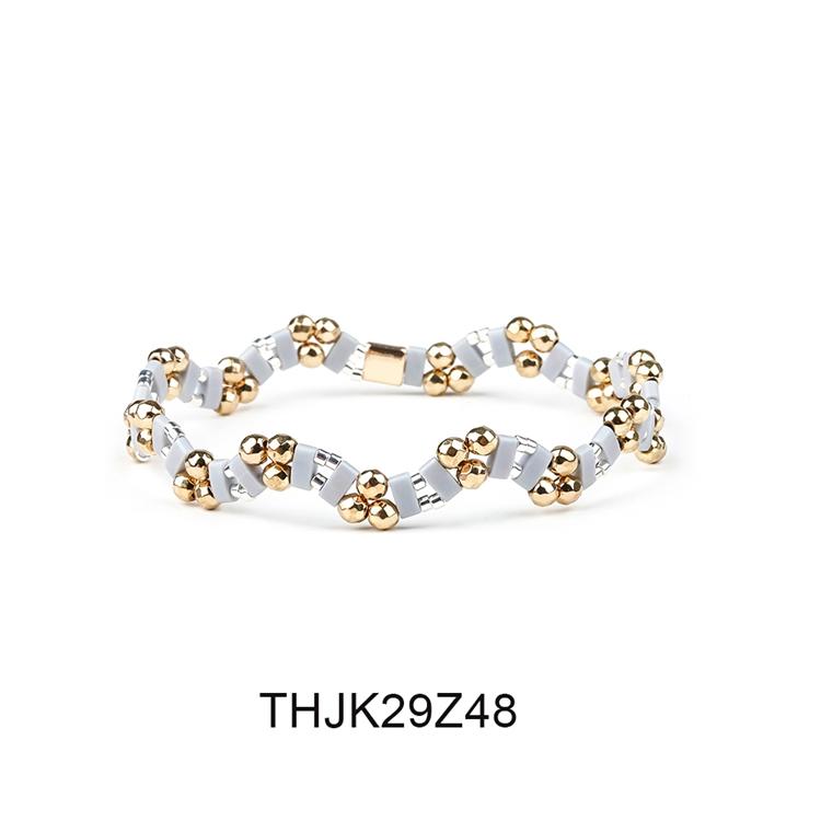 Fashion Customized Hematite Beads Wave Shaped Handmade Tila Bracelet Women Jewelry 9
