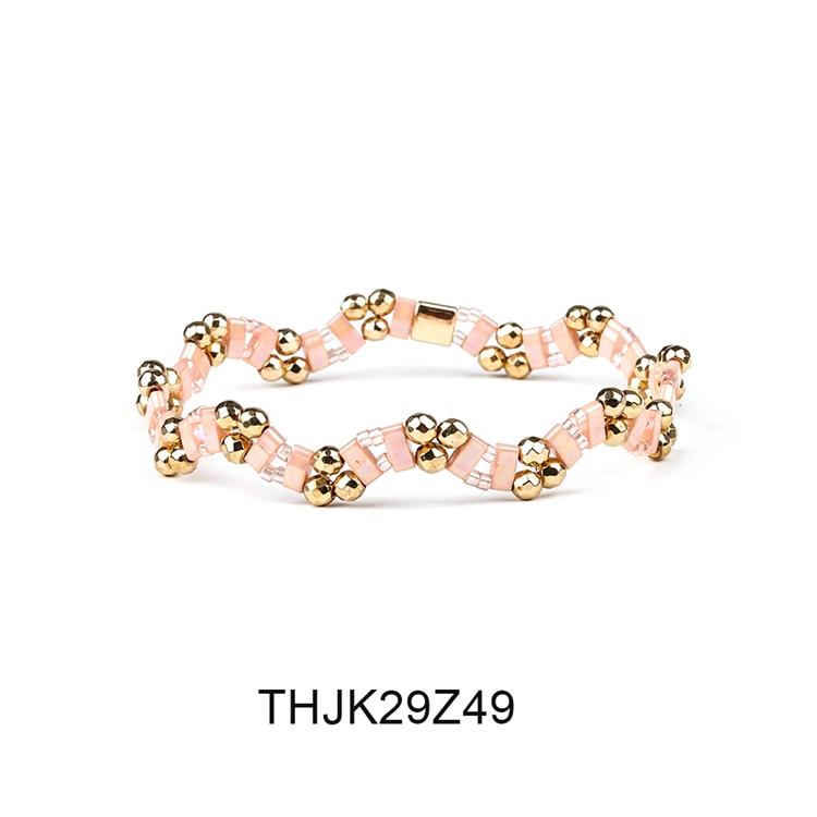 Fashion Customized Hematite Beads Wave Shaped Handmade Tila Bracelet Women Jewelry 10