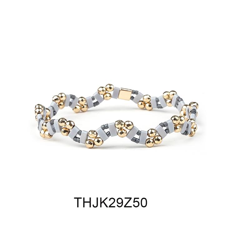 Fashion Customized Hematite Beads Wave Shaped Handmade Tila Bracelet Women Jewelry 11