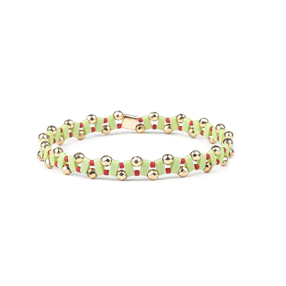 Bright Color Tila Beads Hematite Wave Shaped Handmade Bracelet Wholesale Jewelry
