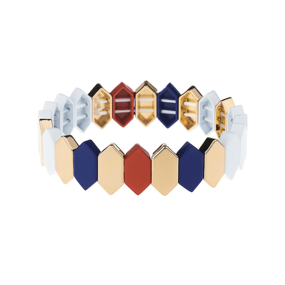 Simple Fashion Red Blue And White Color Alloy Enamle Bracelet Wholesale Women Jewelry