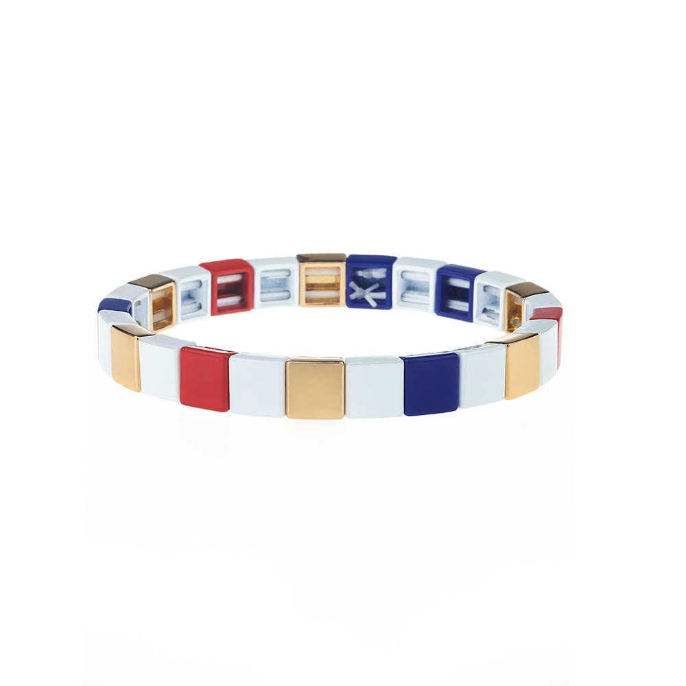 Friendship Square Shaped Stackable Alloy Tile Enamle Women Bracelet Wholesale Jewelry