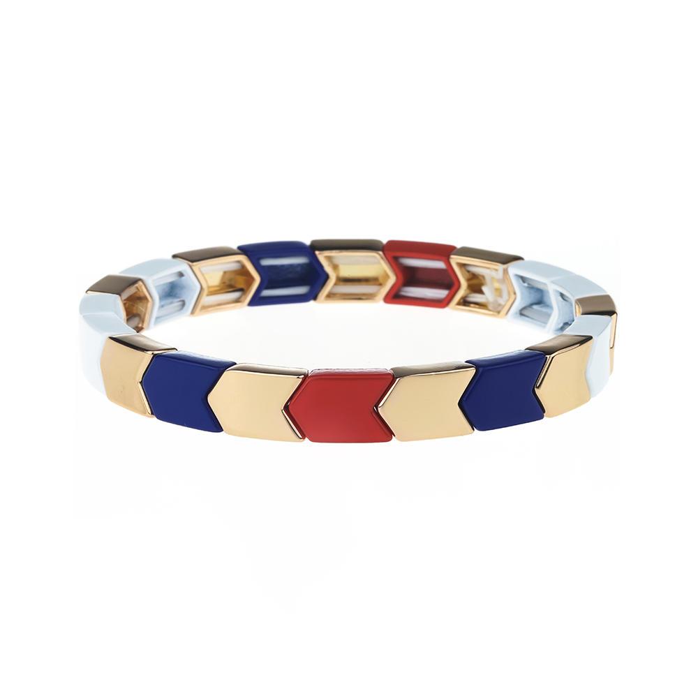 Herringbone Shaped Simple Color Popular Alloy Tile Enamel Wholesale Bracelet Wholsale Jewelry