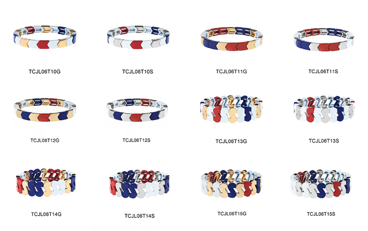 simple fashion blue red and white color alloy enamel bracelet