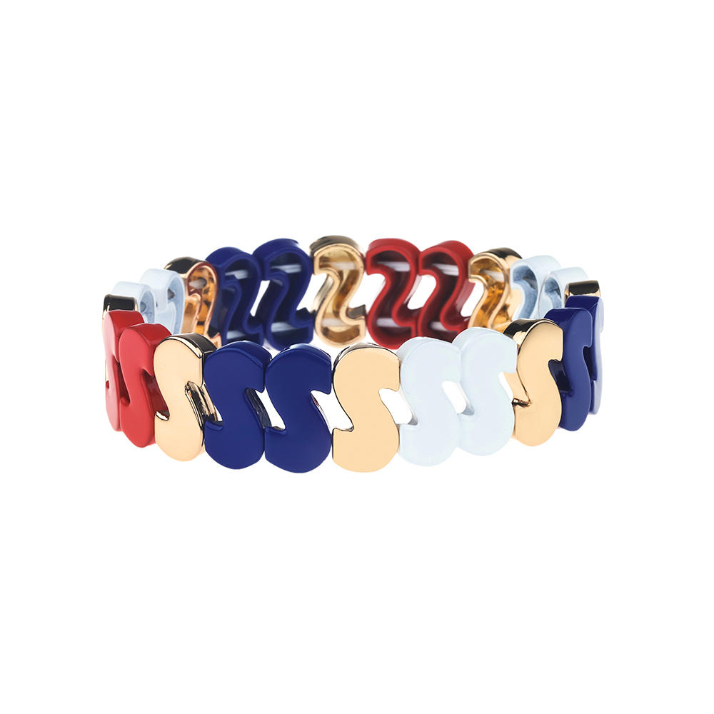 Luck Vogue S-Shaped Stackable Alloy Tile Enamel Bracelet Wholesale Women Jewelry