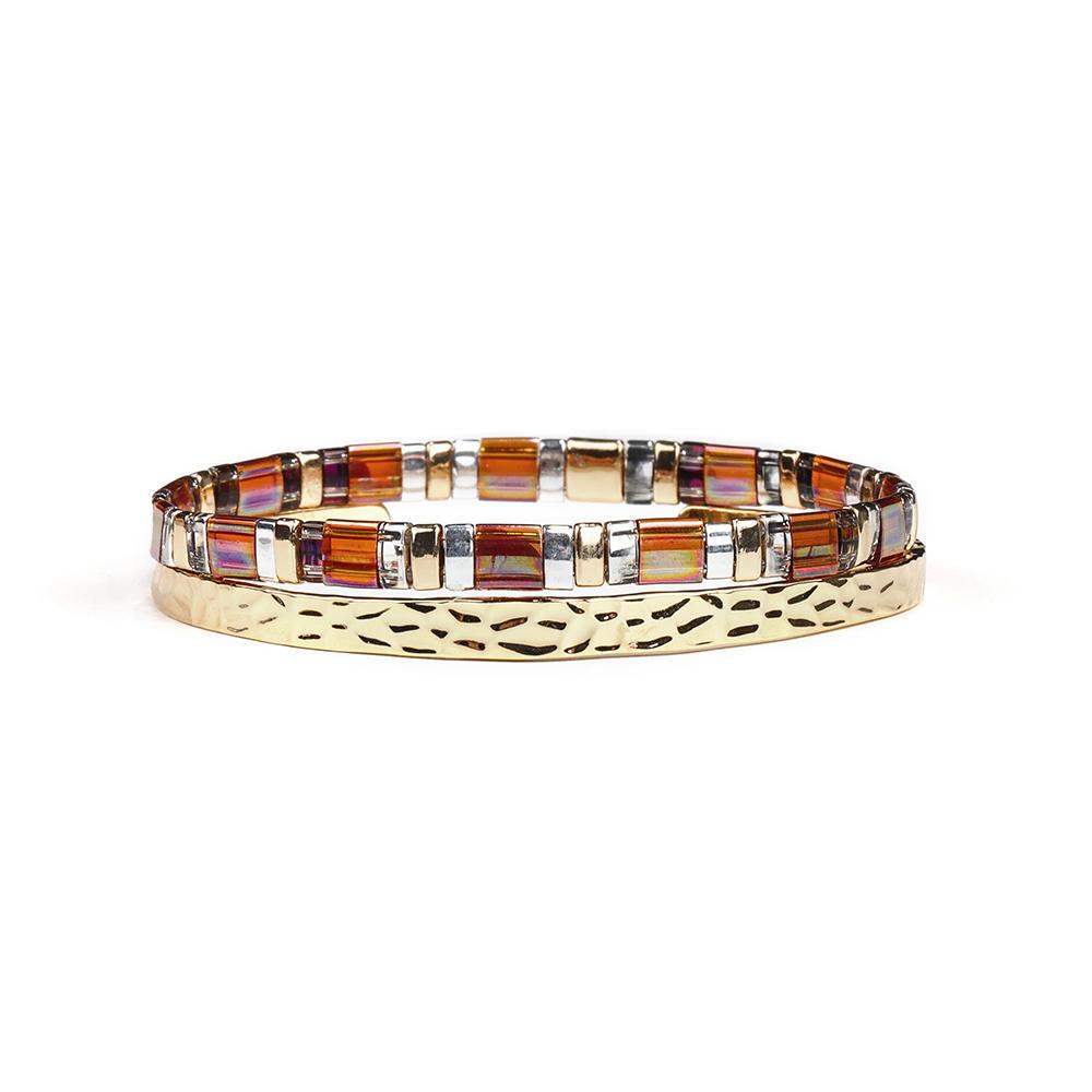 Gold Printed Copper Handmade Tila Beads 2 pcs/set Bracelet Women Jewelry