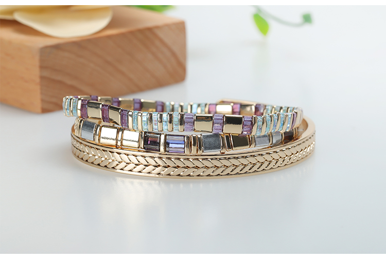 Stylish 3pcs/set Gold Plated Copper Tila Beads Handmade Bracelet Wholesale Jewelry