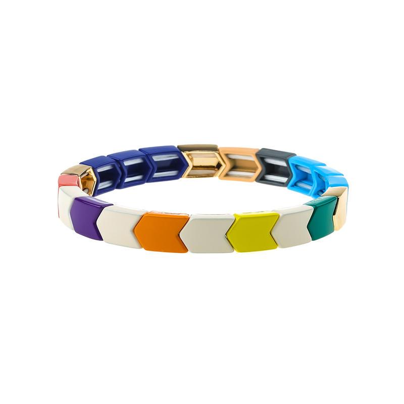 Dazzle Colorful Stylish Ordinary Style Alloy Tile Enamel Bracelet Wholesale Women Jewelry