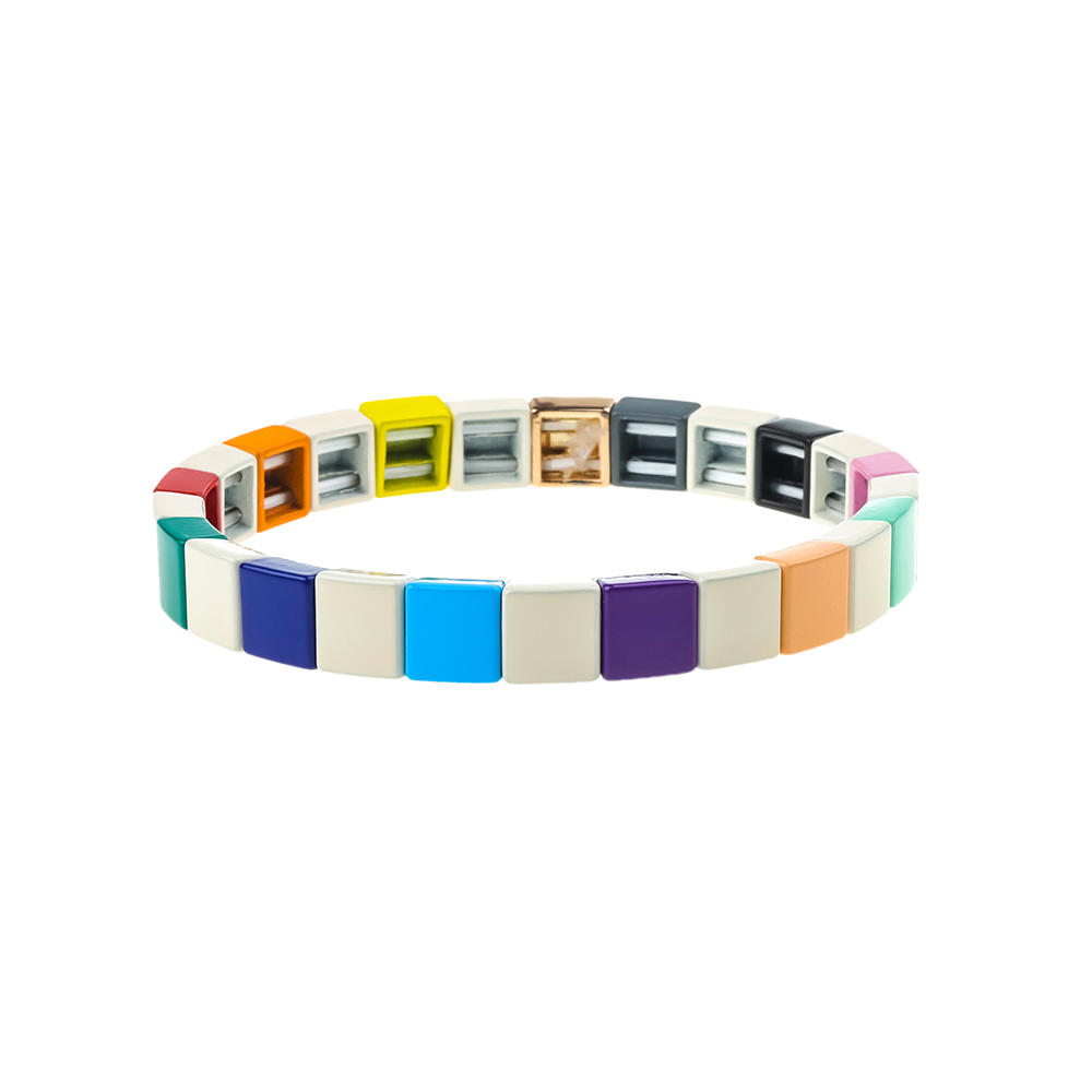 Dazzle Colorful Stylish Ordinary Style Alloy Tile Enamel Bracelet Wholesale Women Jewelry