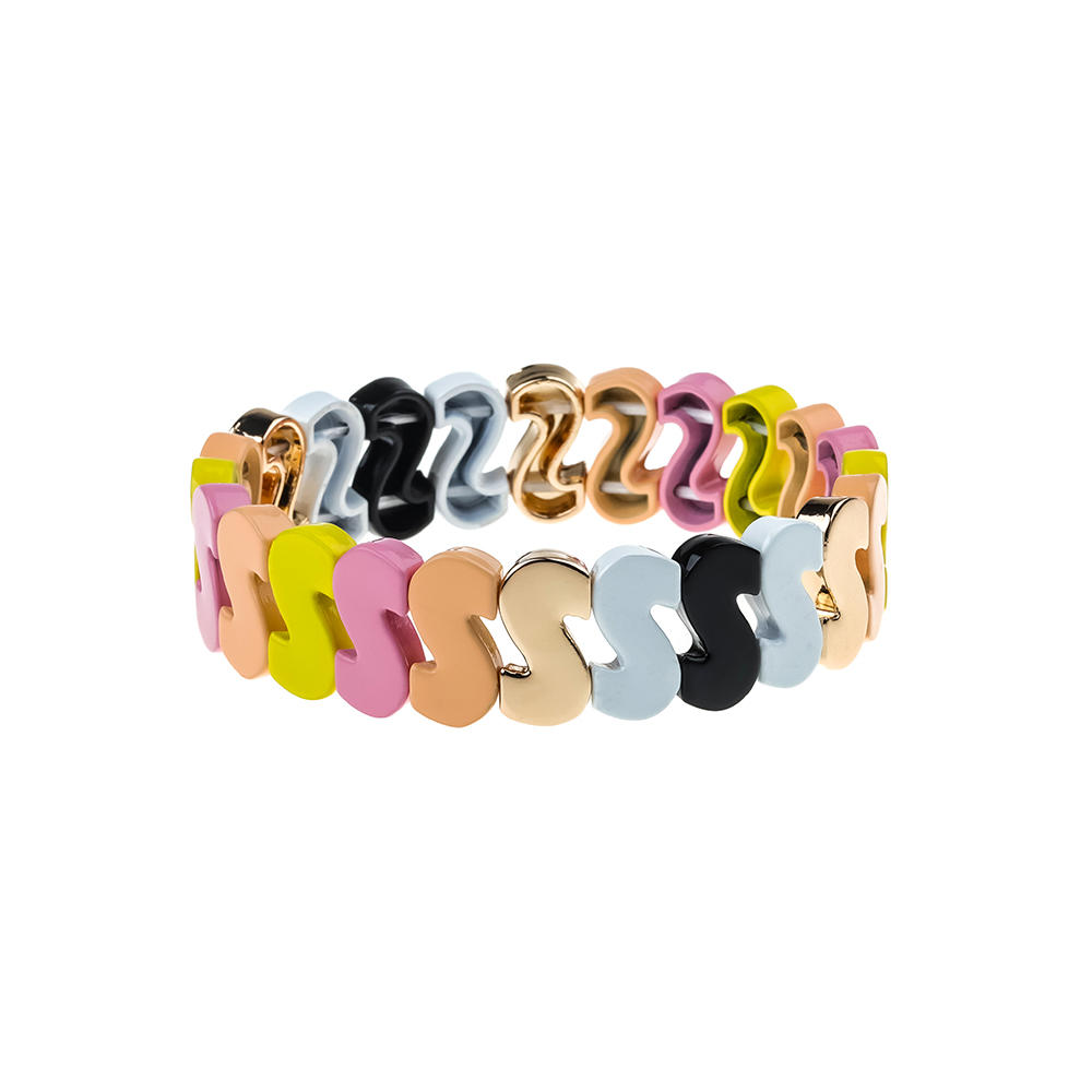 2020 Fresh Stylish Dazzle Colorful Alloy Tile Enamle Bracelet Wholesale Jewelry