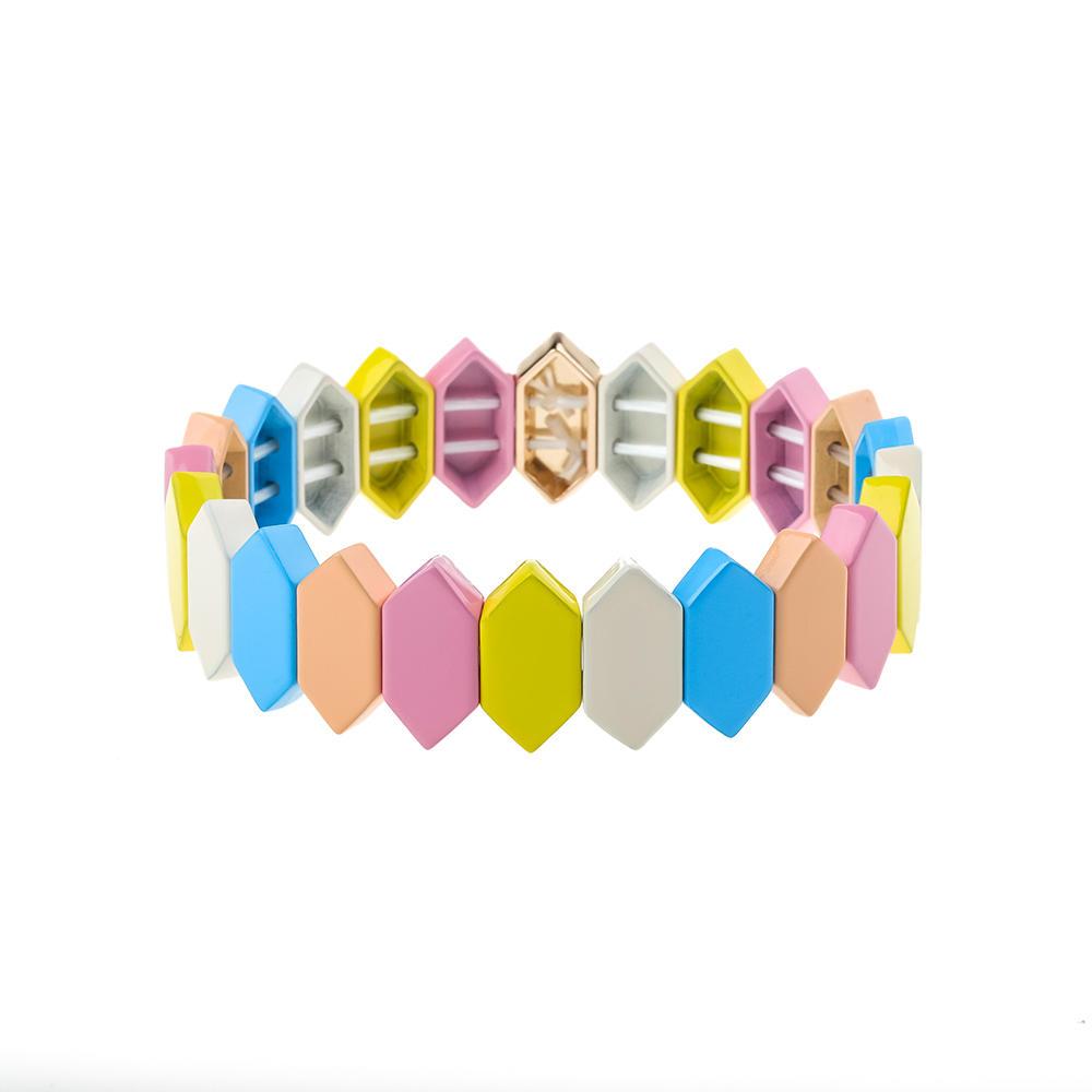 2020 Fresh Stylish Dazzle Colorful Alloy Tile Enamle Bracelet Wholesale Jewelry