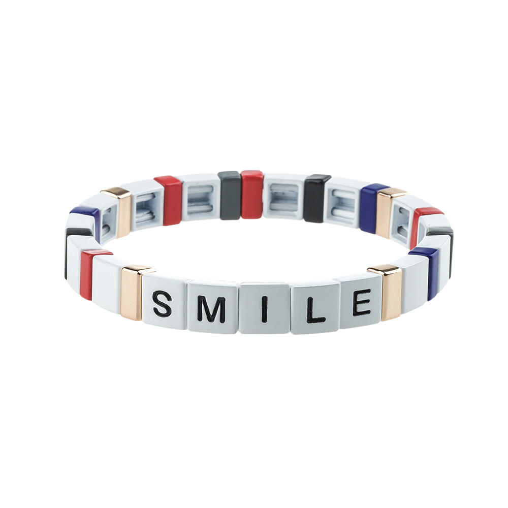 Funny Stackable Letter Alloy Tile Enamel Bracelet Wholesale Womne Jewelry