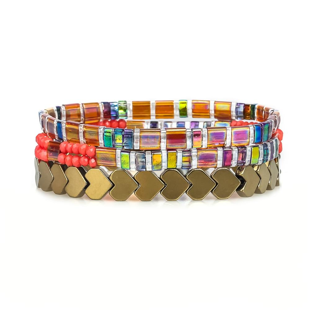 3Pcs Colorful Unique Heart Shaped Miyukii Bead Handmade Tila Bracelet Wholesal Jewelry