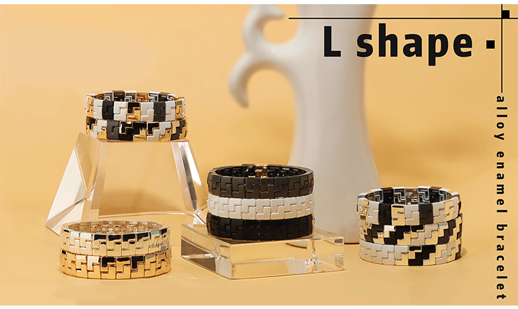 2020 New Fashion alloy l-shaped stackable enamel bracelet