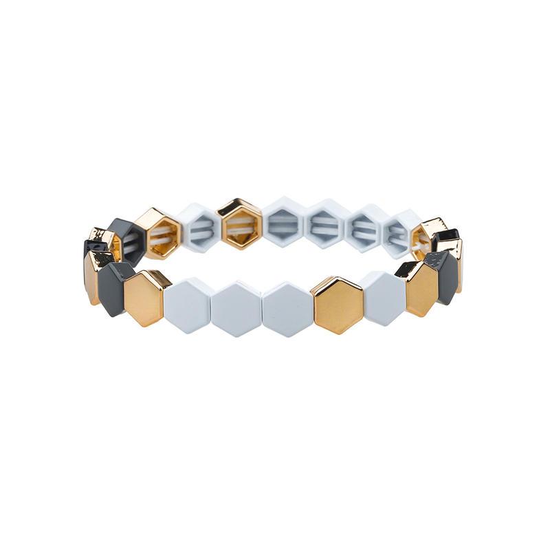 High Quality Stylish Honeycomb-shaped Alloy Tile Enamel Bracelet Wholesale Jewelry