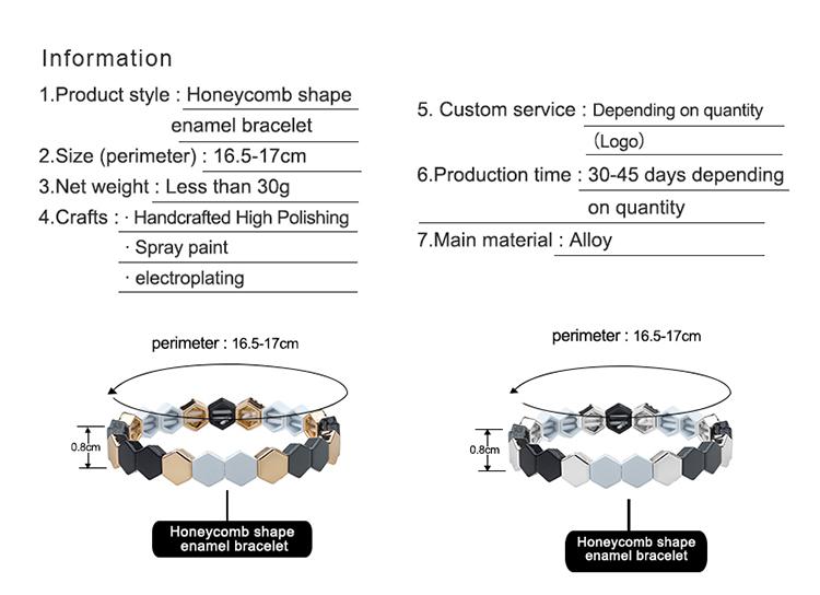 2020 new simple fashion honeycomb-shaped stackable enamle bracelet