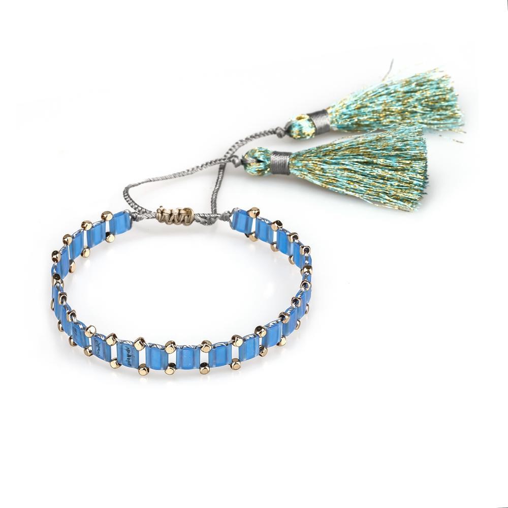 Bright Color Knoted Style Tassel Tila Beads Handmade Bracelet Wholesale Jewelry