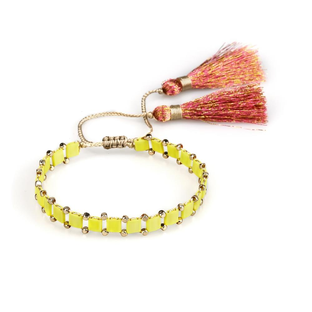 Bright Color Knoted Style Tassel Tila Beads Handmade Bracelet Wholesale Jewelry