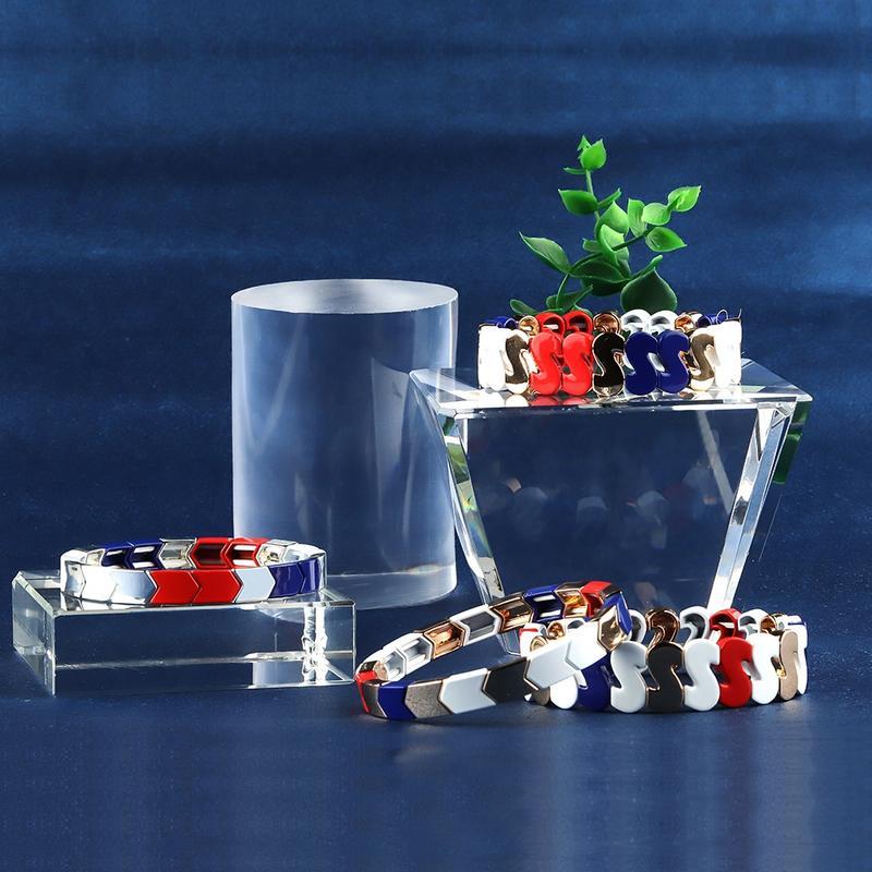 Luck Vogue S-Shaped Stackable Alloy Tile Enamel Bracelet Wholesale Women Jewelry