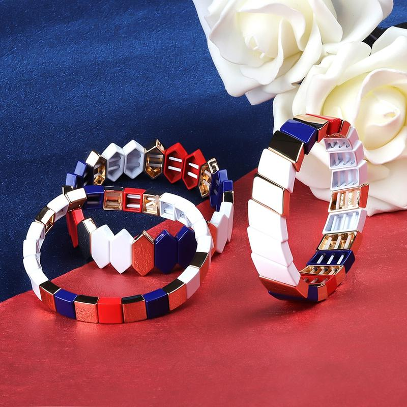 Personalized Stylish Jewelry Cross-grain Shaped Blue Red And White Color Printed Alloy Enamle Bracelet