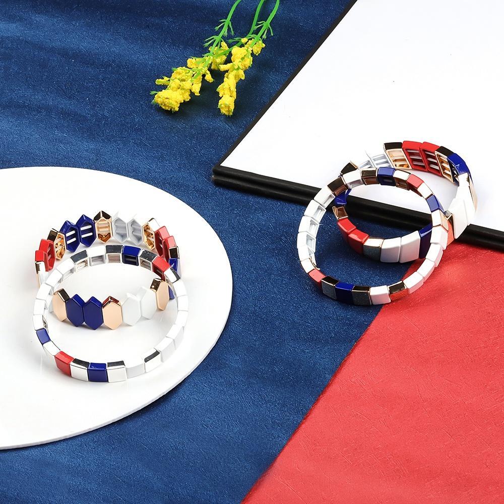 Friendship Square Shaped Stackable Alloy Tile Enamle Women Bracelet Wholesale Jewelry