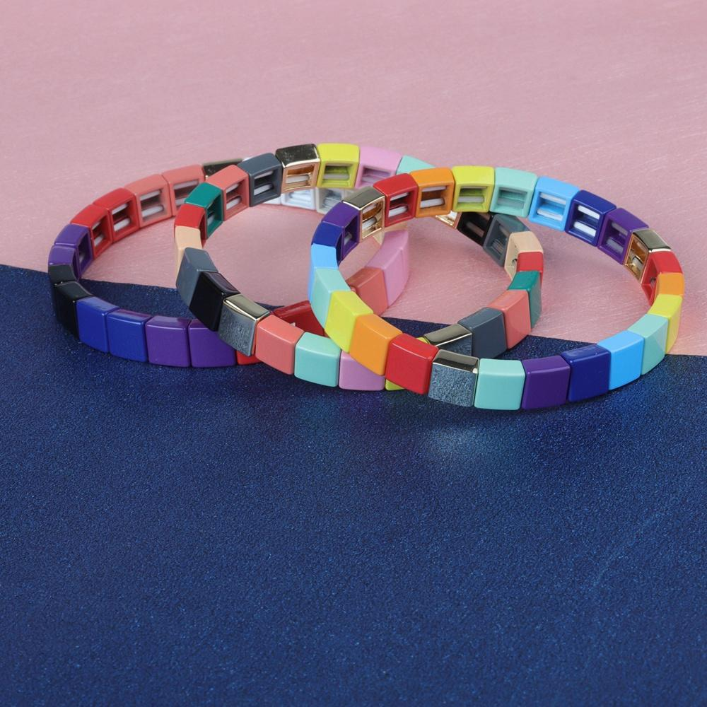 Stackable Square Shaped Rainbow Colorful Tile Enamel Bracelet Wholesale Jewelry
