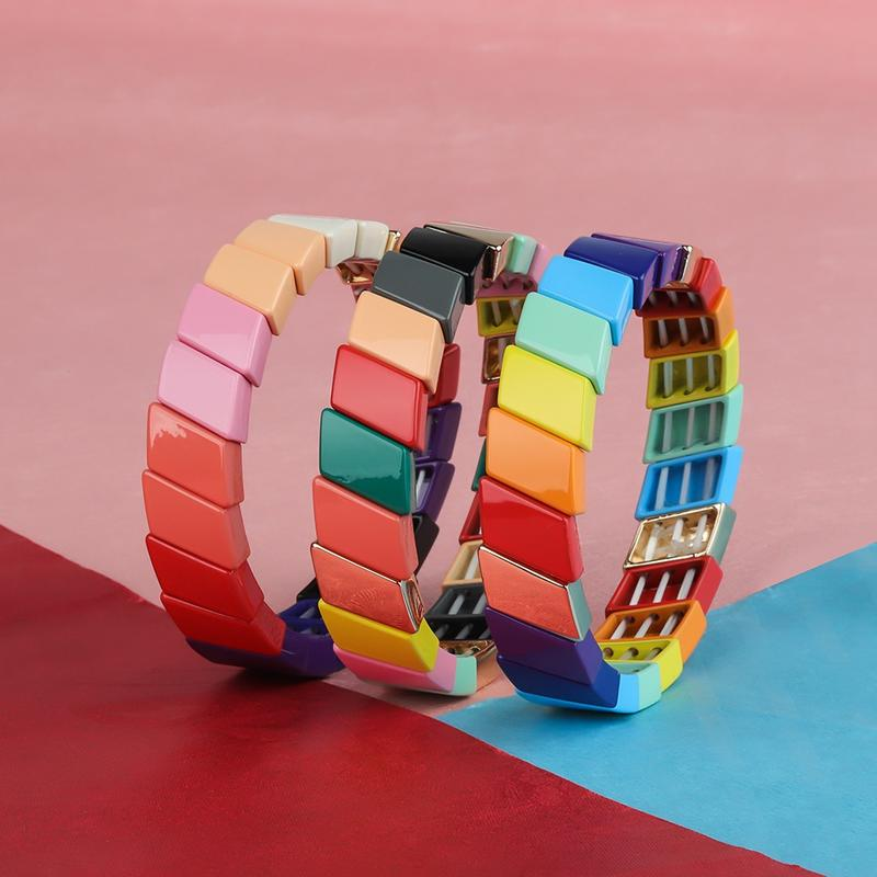 New Fashion Cross-grain Shaped Rainbow Alloy Tile Enamel women Bracelet Wholesale Jewelry