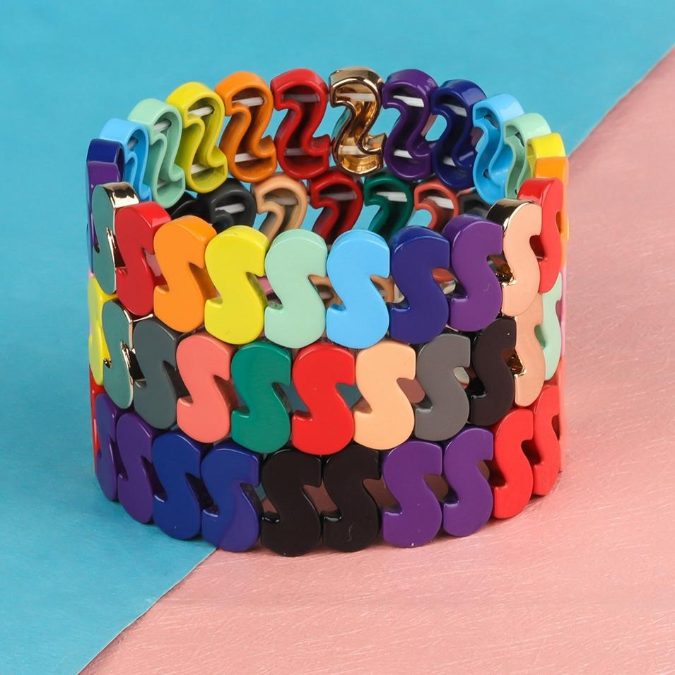 Sweet Clolorful Rainbow S Shaped Alloy Tile Material Enamel Wholesal Bracelet Jewelry