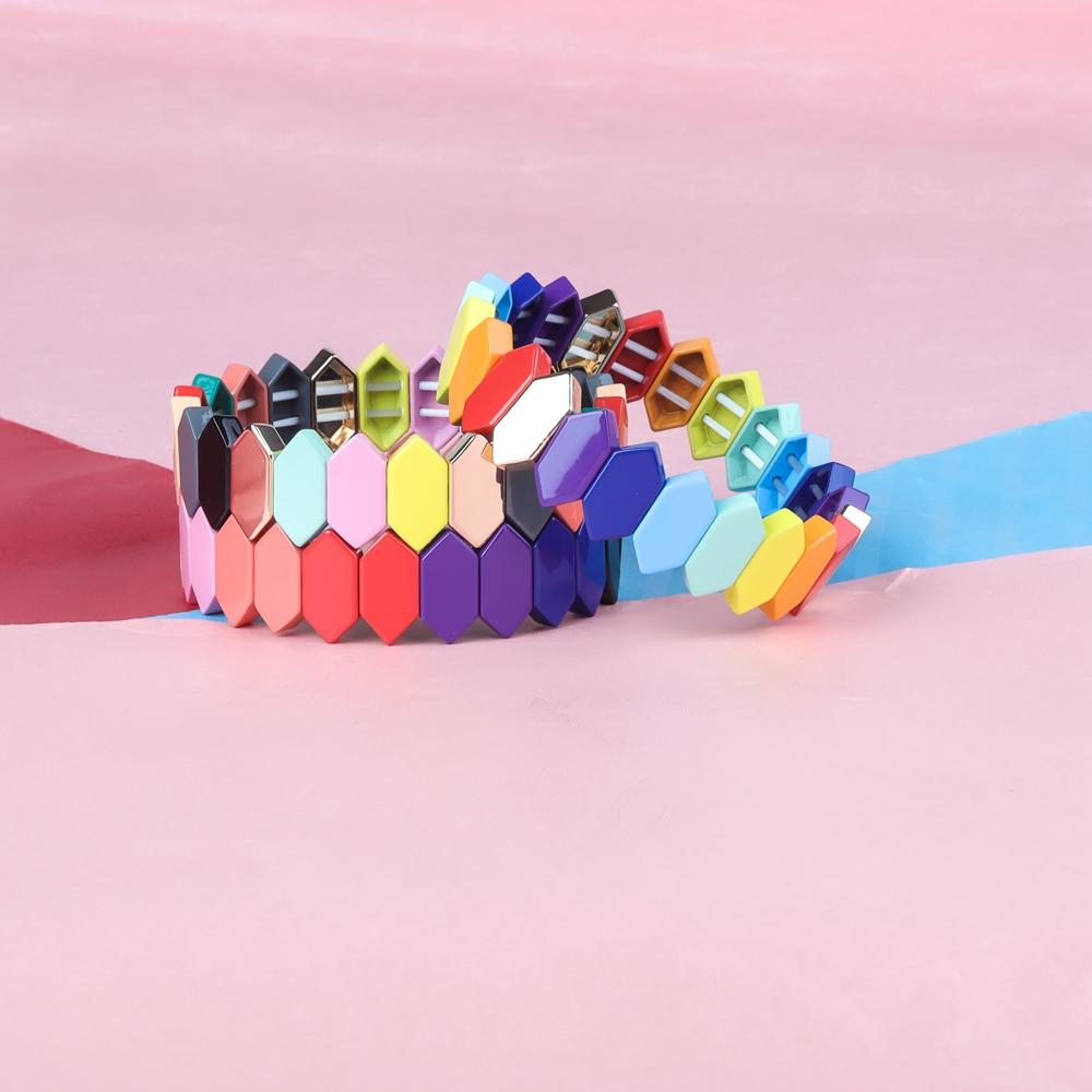 Rainbow Colorful Honeycomb Shaped Alloy Enamel Bracelet Wholesale Women Jewelry