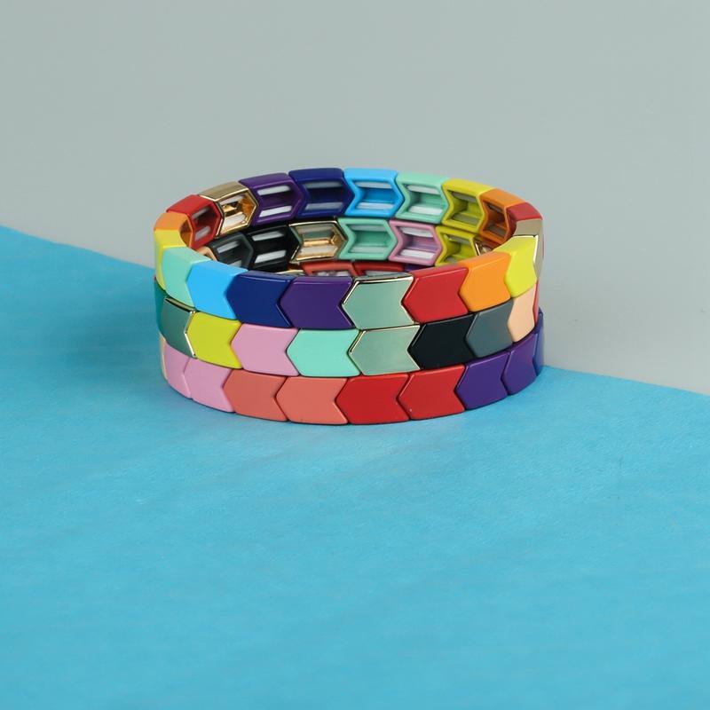 Colorful Arrow-Shaped Rainbow Alloy Tile Enamel Bracelet Wholesale Women Jewelry