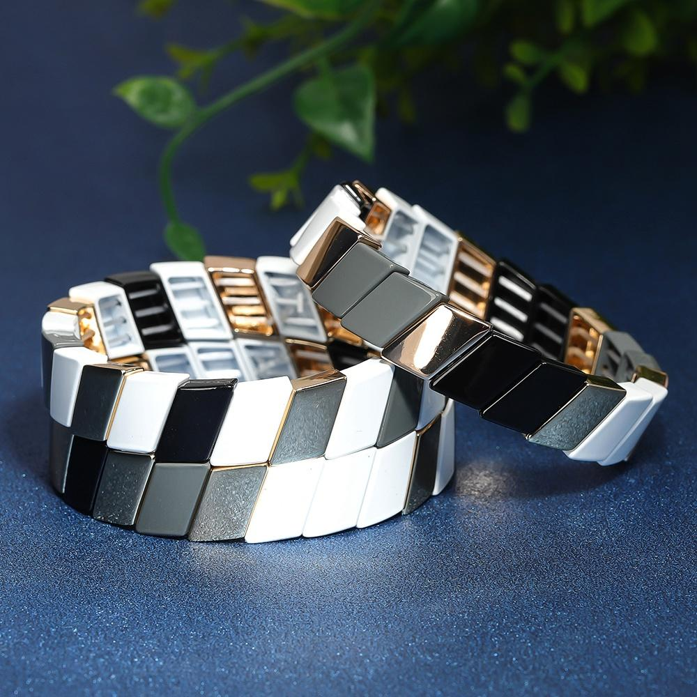 Cross Grain Simple Style Fashion stackable Tile Enamel Bracelet Handmade Women Jewelry