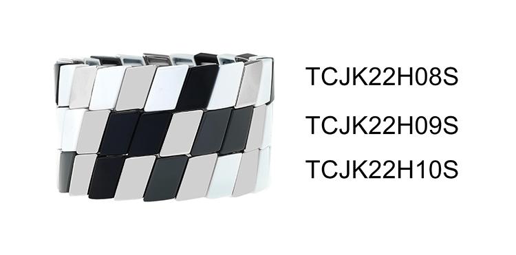 Cross Grain Simple Style Fashion stackable Tile Enamel Bracelet Handmade Women Jewelry